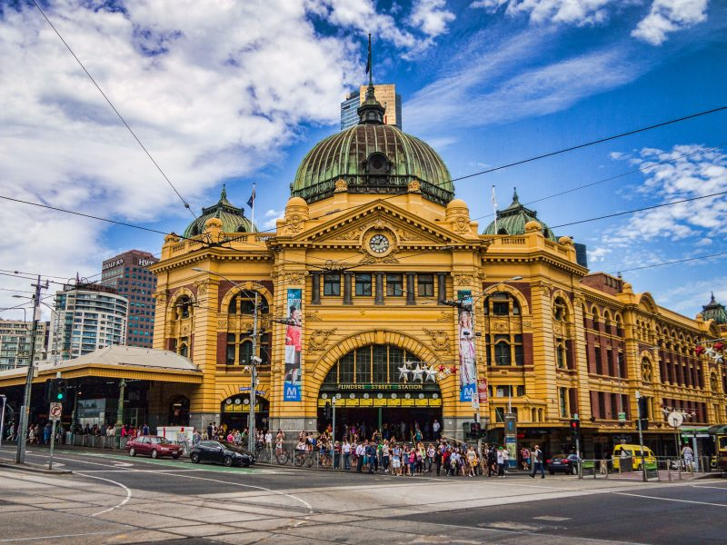 Flinders Street Station in Melbourne. Designed by James Fawcett and H. P. C. Ashworth in 1899, over 110,000 commuters and 1,500 trains pass through the station every weekday.
